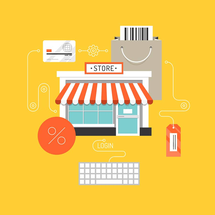 Online shopping and e-commerce concept web store market with purchasing product process via internet. Flat design style modern vector illustration. Isolated on stylish background.